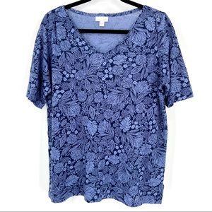 J Jill Love Linen Short Sleeve Top Blue Sz Medium